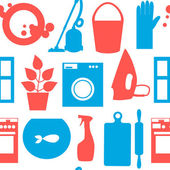Seamless pattern with objects house cleaning. Vector illustration. — Stockvector