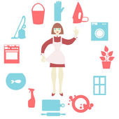 House work icons. Vector illustration.  Flat design. — Stock Vector