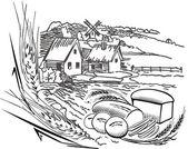 Village illustration — Stock Vector