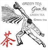 Tea Plantations and attraction tea man — Stock Vector