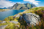 View to mountains in Norway, Lofoten — Stock Photo