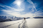 Winter hiking in the Swiss Alps — Stock Photo