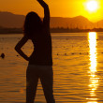 yoga mujer ejerza — Foto de Stock