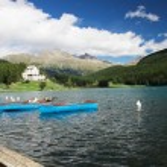 Постер, плакат: Sankt Moritz Lake with boats Grisons Switzerland