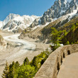 View to French Alps, Mer de Glace, Sea of ice - Stock Photo