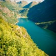 Beautiful view to fjords in Norway, Geirangerfjord and Dalsnibba mountain — Stock Photo