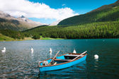 Sankt Moritz Lake with boats, Grisons, Switzerland — Stock Photo