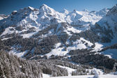 Beautiful view to winter Swiss Alps, Berner Oberland, Adelboden — Stock Photo