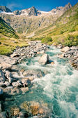 Rapid stream in Swiss Alps, Mountain pass, Sustenpass — Stock fotografie