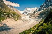 查看以法国阿尔卑斯山,mer de 蜜枣,冰海 — 图库照片