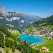 View to Engelberg with Eugenisee lake under the Mt. Titlis, Switzerland — Stock Photo