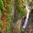 Alpine canyon in the beautiful autumn forest with Kessel Waterfall in Brandnertal valley, Voralberg, Austria, HDR — Stock Photo #34944213