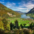 Lake Lungern Valley from Brunig Pass in beautiful autumn weather, Obwalden, Switzerland, HDR — Stock Photo