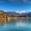 View to Lake Brienz in autumn beautiful weather, Bernese Highlands, Switzerland, HDR — Stock Photo #34944431