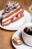 Coffee with Black Forest Cherry cake — Stock Photo