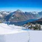 View to Grosser, Kleiner Mythen, Lake Lucerne and Rigi from Klewenalp ski resort, Central Switzerland — Stock Photo #41577157