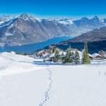 View to Grosser, Kleiner Mythen, Lake Lucerne and Rigi from Klewenalp ski resort, Central Switzerland — Stock Photo #45546501