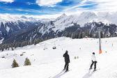 Vista para o vale montafon golm ski resort, Áustria — Fotografia Stock