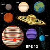 Planets of the Solar System — Vector de stock
