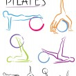 Pilates class - color vector — Stock Vector