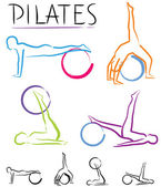 Pilates class - color vector — Stock Vector