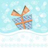 Christmas present and snowflaks — Stockvektor