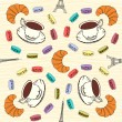 Seamless pattern with French macaroons, croissants and black co — Stock Vector