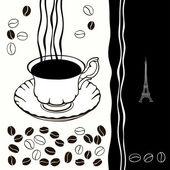 Xícara de café quente com fundo de café beans.black-e-branca. — Vetor de Stock