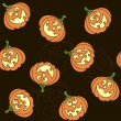 Seamless pattern with cartoon pumpkins for Halloween — Vector de stock