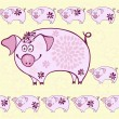 Seamless pattern - funny cartoon pigs — Stock Vector