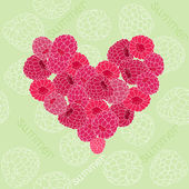 Seamless pattern with heart of raspberries — Stock Vector