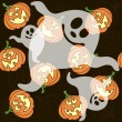 Seamless pattern with cartoon pumpkins and ghosts — Stockvektor