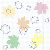 Multicolored maple leaves on a sheet of exercise book. — Stock Vector
