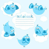 Notebook cover with birds on blue background and place for text. — Stock Vector