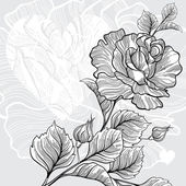 Monochrome invitation or greeting card with rose and heart. — Vettoriale Stock