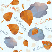 Seamless geometric pattern with autumn leaves and clouds. — Stock Vector