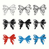 Set of bow. Hand drawn illustrations of ribbons — Stock Vector