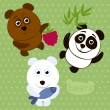 Set of cartoon funny bears. — Imagen vectorial
