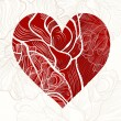 Greeting card with heart and  rose. — Imagen vectorial