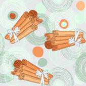 Pattern with cinnamon sticks — Stock Vector