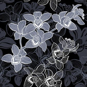 Floral seamless pattern with hand drawn orchids .Vector design. — Stock Vector