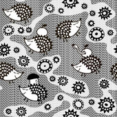 Monochrome seamless pattern with cartoon hedgehogs.Kids vector b — Stock Vector