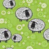 бесшовный фон с мультфильм sheeps.kids векторный фон. — Cтоковый вектор