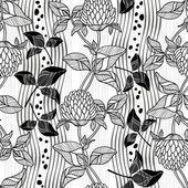 Seamless monochrome pattern with clover — Stock Vector