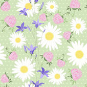 Seamless pattern with wild flowers on the background of with pol — Stock Vector