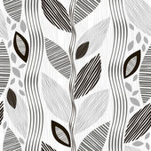 Monochrome seamless pattern of abstract leaves. — Stock Vector
