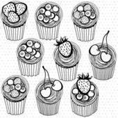 Padrão sem emenda com cupcakes — Vetor de Stock
