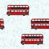 Double-decker buses under the rain — Stock Vector