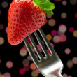 Forked strawberry — Stock Photo