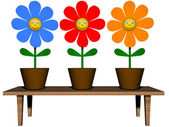 Three flowers smiling — Stock Photo